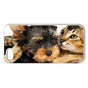 Adorable Friends - Case Cover for iPhone 5 and 5S (Dogs Series, Watercolor style, White)
