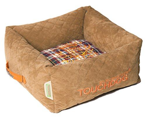 Cheap TOUCHDOG 'Exquisite-Wuff' Posh Rectangular Diamond Stitched Fashion Designer Quilted Fleece Pet Dog Bed Mat Lounge, Medium, Light Brown, White