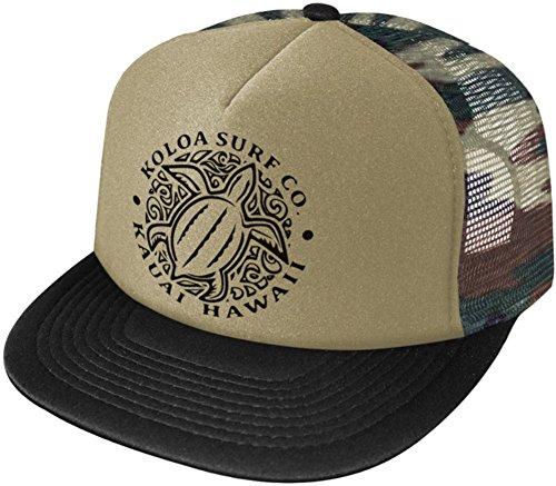 Koloa Surf Hawaiian Turtle High Profile Poly-Foam Trucker Hat-CamoBlack/b