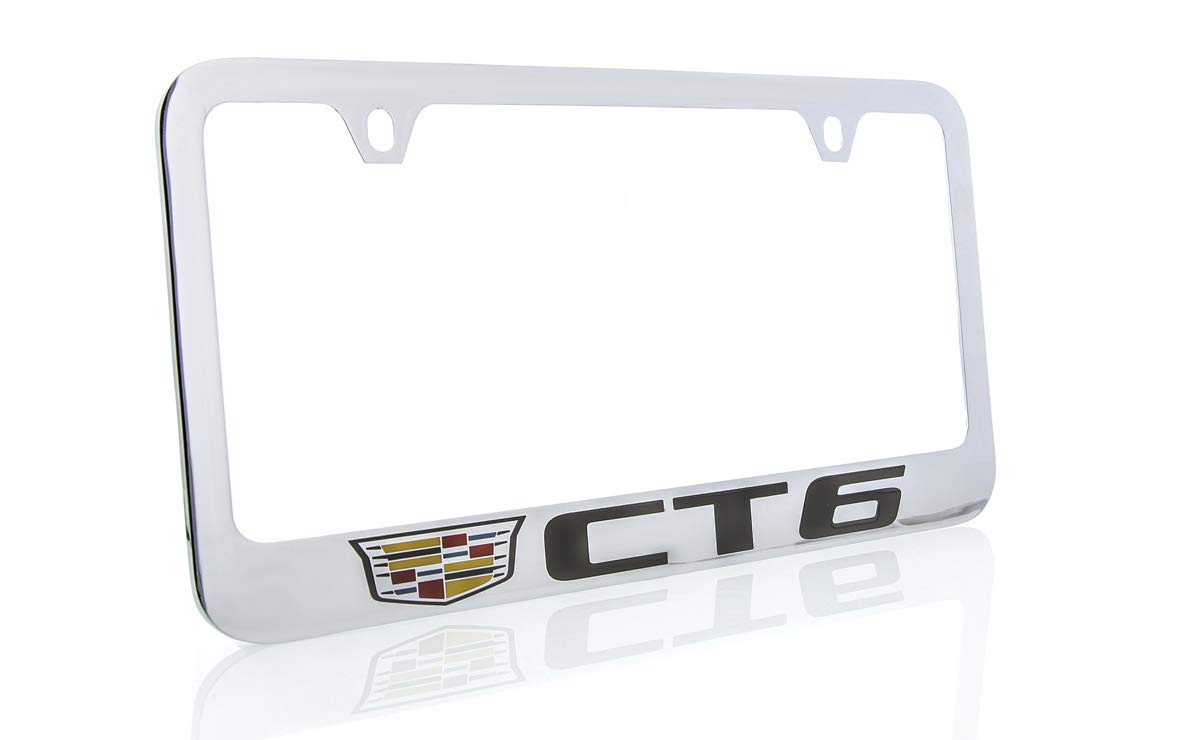 2 Hole Cadillac CT6 Brass License Plate Frame with Chrome Finish Baronlfi