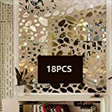 TTSAM 18PCS Silver Mirror Decals Acrylic Cobblestone Shape Wall Stickers(Not a Real Mirror), Cobblestone Shape DIY Decor for Home Room Bedroom Office Decoration Silver Mirror