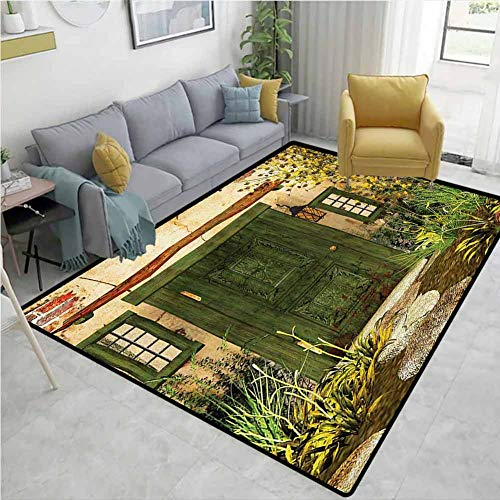 Rustic Non Slip Rugs Cottage Door Overgrown Bushes Grass Tree Garden Brick Fairy Tale Countryside Breathability W71 x L82 Green Ivory Yellow
