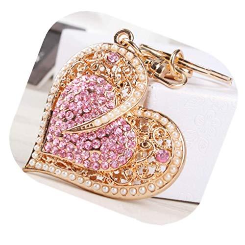 Crystal Heart Bag - Fashion Lady's Keychain Heart Crystal Rhinestone Key Chain Key Ring Charm Purse Pendant Handbag Bag Decoration Holiday Christmas Gift For Girls (Heart keychain)