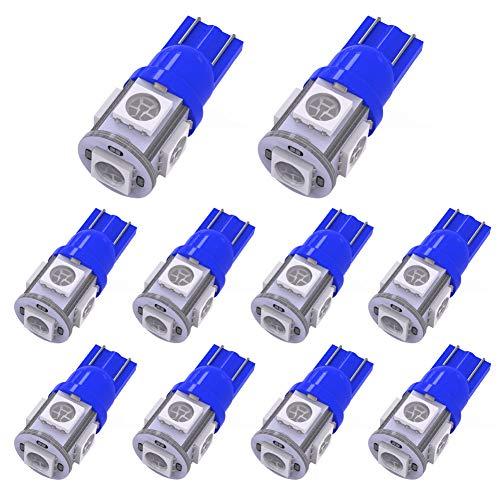 (YITAMOTOR 10 PCS T10 Wedge 5-SMD 5050 Ultra Blue LED Light Bulbs W5W 2825 158 192 168 194 12V DC)