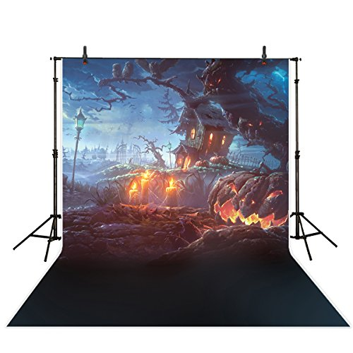 Funnytree 5x7ft Polyester Halloween Theme Photography backdrop background burning candle pumpkin farm photo studio prop