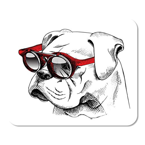 - Suike Mousepad Computer Notepad Office Dog Bulldog Portrait in Red Sunglasses Hipster Glasses Cool Home School Game Player Computer Worker 9.5x7.9 Inch