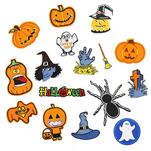 16 Pcs Halloween Pumpkin Broom Embroidered Patches Iron on Cartoon Motif Applique Fabric Clothing Dress DIY Accessory -