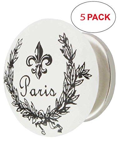 (House of Antique Hardware R-08MG-366-PN-5 White Porcelain Paris Fleur-De-Lis Cabinet Knob with Brass Base in Polished Nickel (5 Pack))