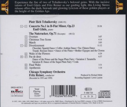 Tchaikovsky: Piano Concerto No. 1 / Nutcracker (ballet suite) excerpts ~ Gilels / Reiner by Sony Classics / RCA Victor
