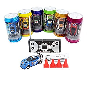 - 51a2yGJoeoL - 3Pcs/Lot(3Pcs different frequencies) Cans type mini RC car/Portable pocket toy car with 4pcs roadblocks,Color random match