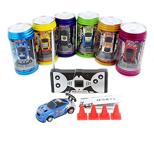 Cans type mini RC car with 4pcs roadblocks,color random,Suitable for the game (40 Hz)
