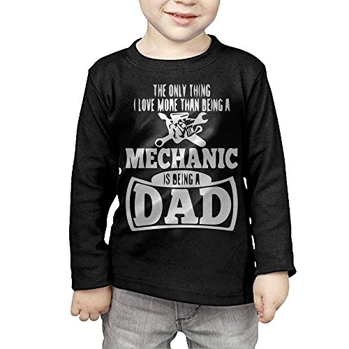 ZheuO Boys & Girls Toddler Only Thing Love More Than Being A Mechanic Is A Dad Soft 100% Cotton T-Shirts Unisex Black 2 Toddler