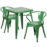 "Flash Furniture 23.75"" Square Green Metal Indoor-Outdoor Table Set with 2 Arm Chairs"