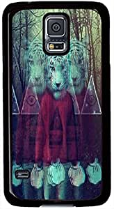 Samsung Galaxy S5 I9600 Cases, Samsung Galaxy S5 Case, Triangle Eye and White Tigers Case for Samsung Galaxy S5 I9600