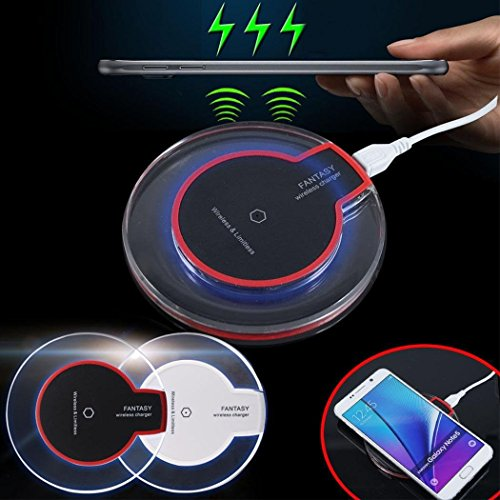 Halffle Wireless Charging Pad, New Wireless Charger Crystal Round Charging Pad with Receiver for iPhone Charging Stations