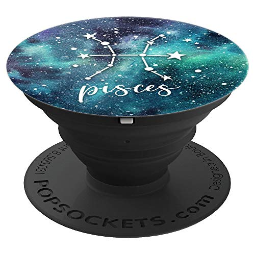 Pisces - Aqua Astrological Horoscope Zodiac Star Sign - PopSockets Grip and Stand for Phones and Tablets