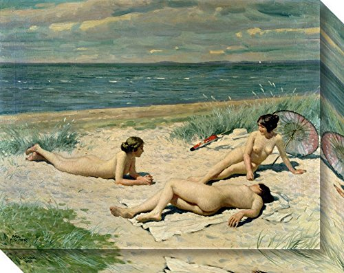 Canvas Art Gallery Wrap 'Nude Bathers on the Beach' by Paul Fischer