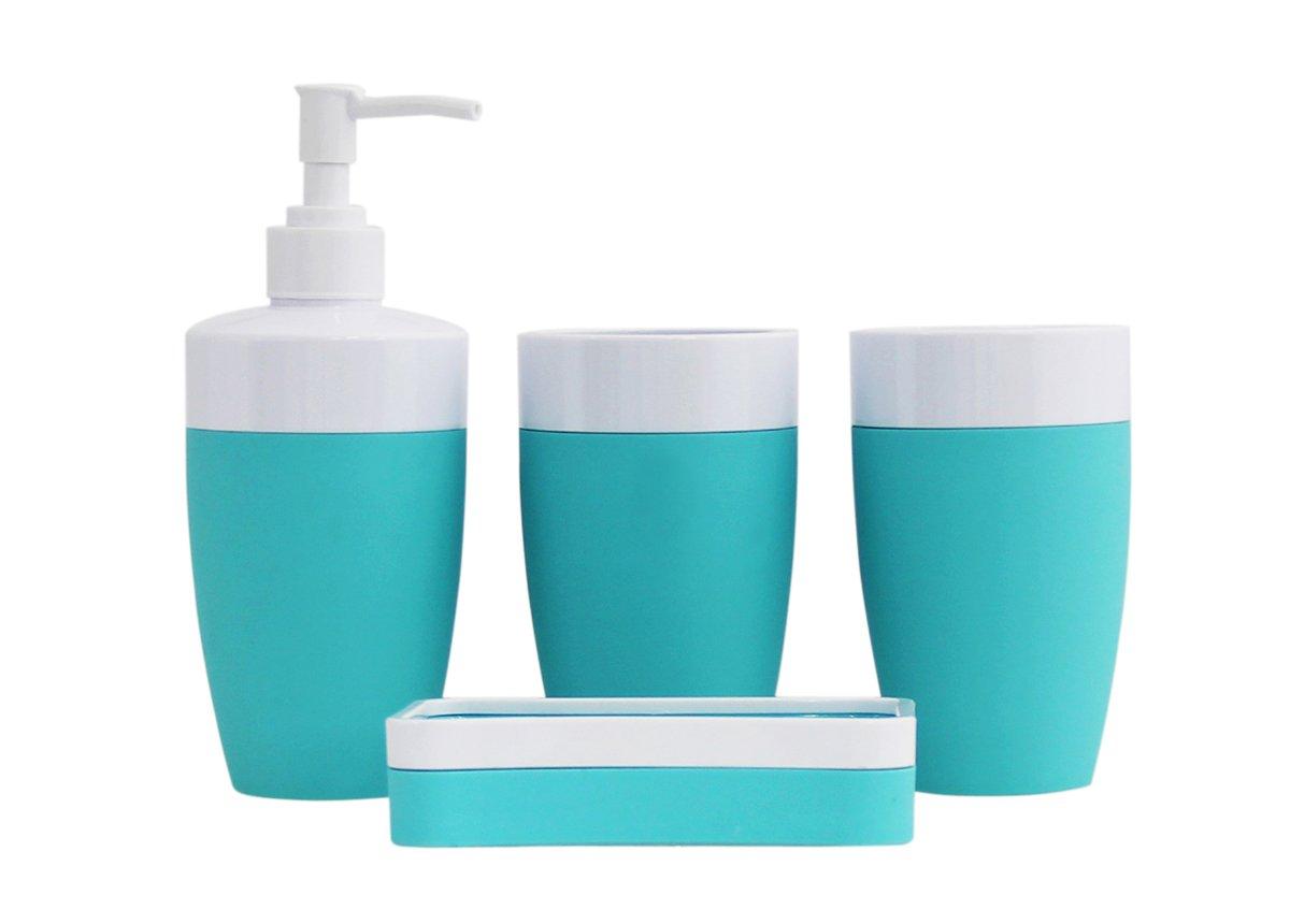 Justnile plastic rubber 4 piece bathroom accessory set for Bathroom 4 piece set