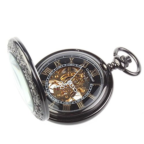Marvelous Amazon.com: CredDeal Steampunk Pocket Watch Pendant Roman Number Half  Hunter   Antiqued Silver Black With Gift Box PW039: Watches