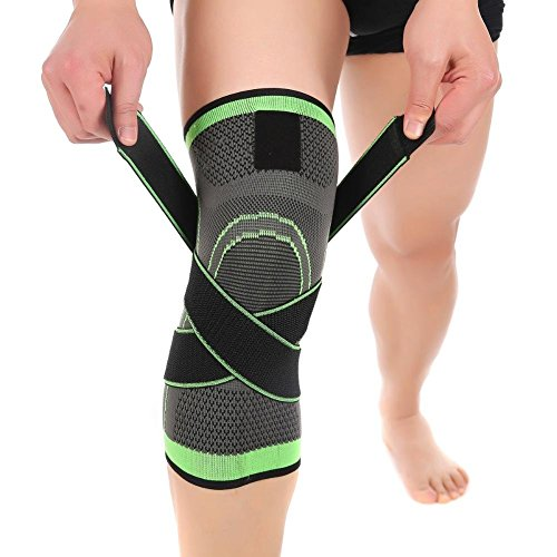 Efanr 1 Pair Knee Compression Sleeve, Knee Brace Protective Pad Kneepad with Adjustable Strap, Ankle Wrist Leg Support Bandage Kneepad for Basketball, Running, Jogging, Sports, Arthritis (Green, XL) -