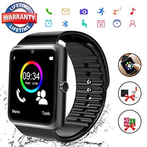 Bluetooth Smart Watch with Camera, Touchscreen Smart Wrist Watch with Sim Card Slot, Camera Controller Bluetooth Watch Unlocked Waterproof Smart Watch for iPhone Android Samsung Men Women (GT08-Black)