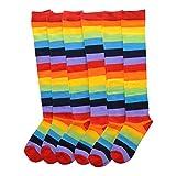 Angelina Rainbow Striped Knee High Socks, #2540 6-Pair Lady's #2540_9-11 Lady's One Size