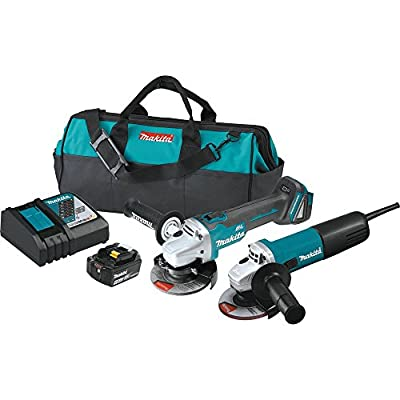"Makita DK0060MX1 18V LXT Cordless 4-1/2"" Angle Grinder Kit (4.0Ah) w/corded 4-1/2"" Angle Grinder"