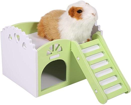 HEEPDD 3Colors De Madera de Dos Pisos Casa Hamster con Escalera Mascotas Casa Ocio Juguetes de Ejercicio para Ardillas Gerbils Hamsters Golden Bears Pequeños Animales (Green): Amazon.es: Productos para mascotas