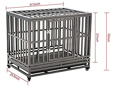 LUCKUP 38 Inch Heavy Duty Dog Cage Strong Metal Kennel and Crate for Large Dogs,Easy to Assemble Pet Playpen with Four Wheels,Black …