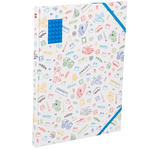 Brick Sketch - LEGO Stationery Sketchbook with Brick Plate - Multicored Hard Cover with Blue 4x6 Brick - 96 Blank Pages - 8.5