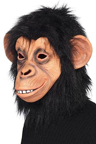 SmiffyS 39507 Mascara De Chimpance Cubre Toda La Cabeza, Negro, Tamano Unico
