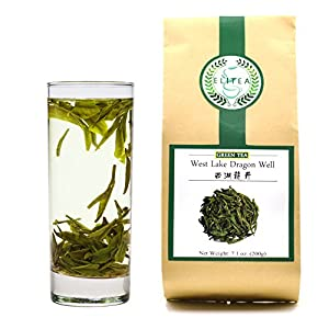 ELITEA Green Tea Loose leaf Quality Dragon Well Green Tea Xi Hu Long Jing China Famous Green Tea Bulk 7.1 Ounce