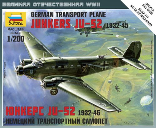Zvezda Junkers Ju-52 German Transport Plane Snap Kit 1:200 Scale Snap Together Kit