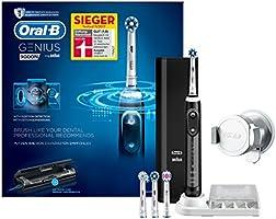Oral-B Genius9000N Elektrische Zahnbürste, mit Bluetooth-Verbindung, 4Aufsteckbürsten,Premium-Lade-Reise-Etui, schwarz