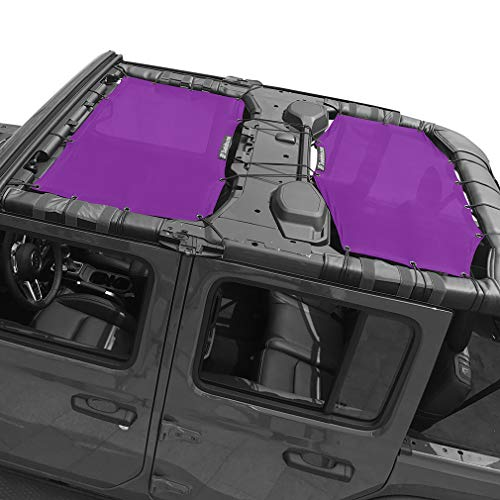 Shadeidea Jeep Wrangler Sun Shade JL Unlimited 4 Door Front and Rear 2 piece-Purple Mesh Screen Sunshade JLU Top Cover UV Blocker with Grab Bag-One time Install 10 years Warranty