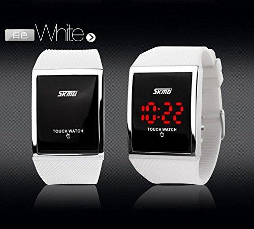 Gosasa Touch Screen Digital LED Waterproof Boys Girls Sport Casual Wrist Watches(White)