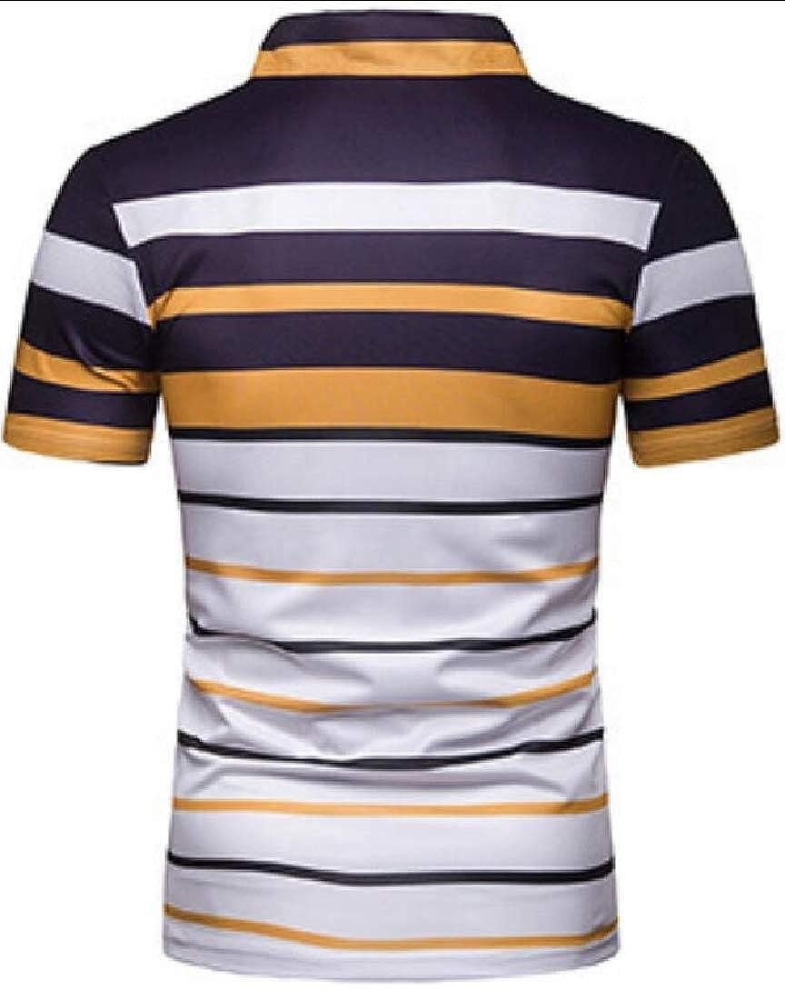 Generic Mens Fashion Short Sleeve Stripe Slim Fit T-Shirt Breathable Polo Shirt