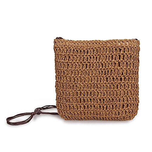 CampHiking - Bolso de mano para mujer, diseño de pajita de vacaciones, hecho a mano, tejido a mano, bolso de mano de estilo japonés coreano B