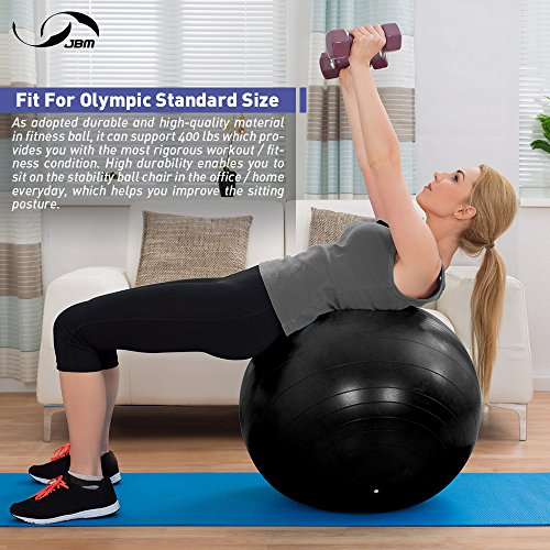 JBM Exercise Yoga Ball with Free Air Pump (4 Sizes 5 Colors) 400 lbs Anti-Burst Slip-Resistant Yoga Balance Stability Swiss Ball for Fitness Exercise Training Core Strength (Black, 60cm-65cm) by JMB (Image #1)