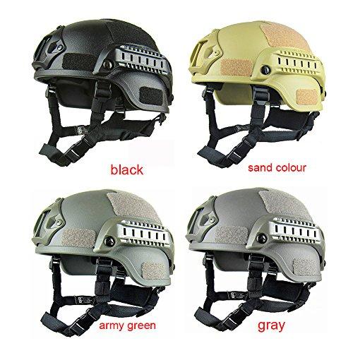 Gezichta Casque tactique de protection style MICH 2001 avec support NVG et rails latéraux pour paintball, airsoft ou CS 3