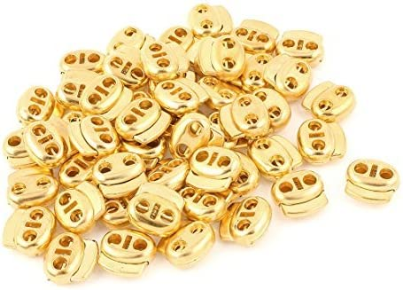 Dual Holes Cord Lock Stopper Toggles Spring Fastener 50 Pcs Gold Tone