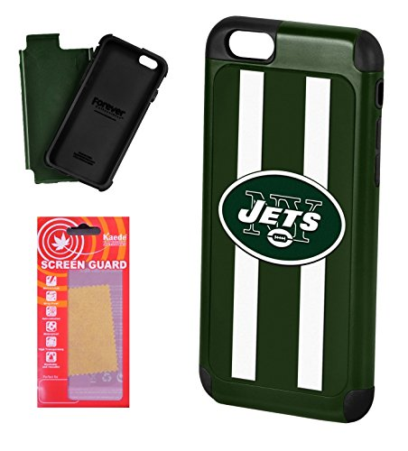([iPhone 6, 6s] Licensed NFL Dual Hybrid Cell Phone Case for iPhone 6, 6s with Kaede [Screen Guard] Protector- New York Jets - [iPhone 6, 6s only])