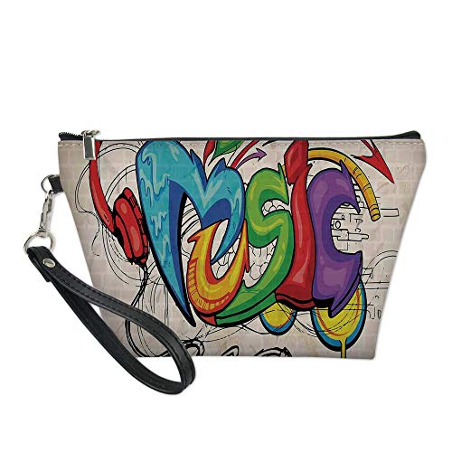 Music Decor Useful Cosmetic Bag,Illustration of Graffiti Style Music Lettering Headphones Hip Hop Rhythm Tempo Hipster Concept for Travel