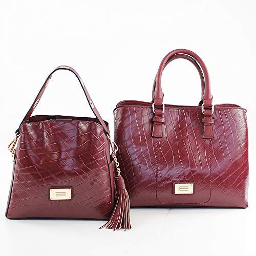 Shopper 10x22x24 Bolso W x Mujer para Burdeos Prato H Rojo L cm x Eferri Hobbo qtcYpp