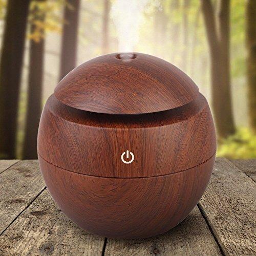Kmise USB Cool Mist Humidifier Ultrasonic Aroma Essential Oil Diffuser 130ml Light Wood Grain For Office Home Bedroom Living Room Study Yoga Spa (Dark Wood Grain, 130 ml) by Kmise (Image #5)