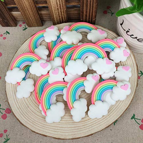 ZAMTAC Hot!!! Kawaii Flatback DIY Clay Rainbow Cabochons Flat Back Scrapbooking Hair Bow Embellishment Crafts for Phone Case:3062mm