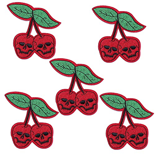 J.CARP 5Pcs Red Cherry Ghost Skeleton Skull Embroidered Iron on Patch for Clothes, Iron-on Patches / Sew-on Appliques Patches for Vest, Jackets, Backpacks, Caps, Jeans to Cover Holes / Logo