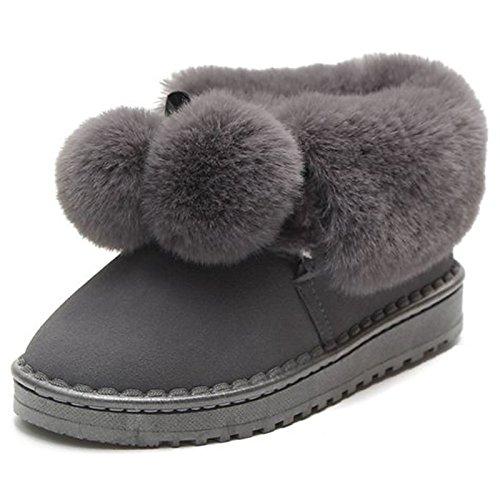 ZHZNVX HSXZ Zapatos de Mujer Otoño Invierno PU Confort Botas Botas de Nieve Talón Puntera Redonda Plana Mid-Calf Botas para Casual Gris Negro,Gris,US8/UE39/UK6/CN39 38.5 EU