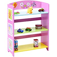 Costzon Kids Bookshelf, 3-Tier Butterfly Book Rack, Adorable Corner Book Organizer, Pink