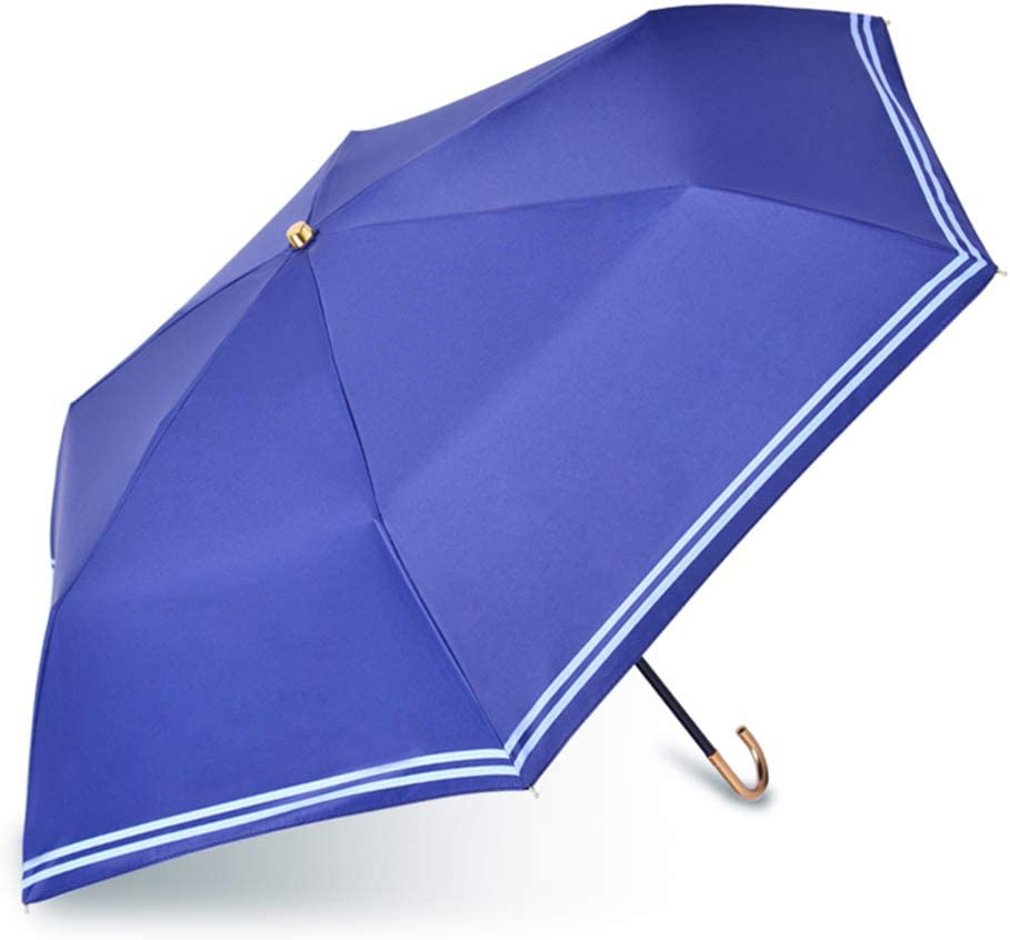 ZWYY Travel Umbrella Windproof Anti-UV Folding Sun Umbrellas Compact Portable Lightweight Rain Umbrella Women Manual Sunscreen Stick Umbrellas,lightblue